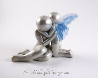 Mother with Heavenside Son or Daughter Sculpture - polymer clay remembrance keepsake and child loss memorial art