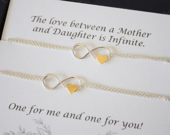 Mother and Daughter Inifnity Bracelet Set, Infinity Jewelry, Best friend Gift, Mothers Day Gift, Silver Bracelet, BFF, Gold Heart