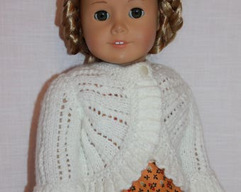 18 inch doll clothes,  ruffled edge hand knit sweater with front button, Upbeat petites,