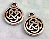 TierraCast Celtic Knot Round Charm, Antique Silver 2 Pc. TS5