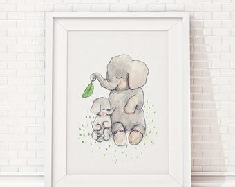 Mothers love, elephant nursery decor, baby elephant baby shower, elephant nursery wall art, baby shower decorations, elephant nursery print