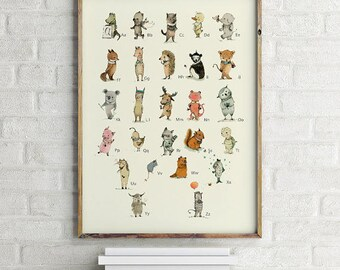 Alphabet poster, Choose your language, Alphabet art, Alphabet print, Nursery art, Nursery alphabet, Kids room decor
