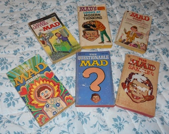 6 Each All PaperBack Mad Comics {Vintage}