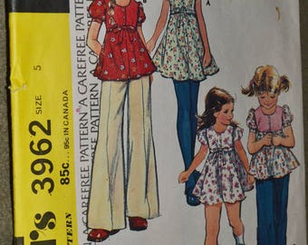 Vintage 70s Sewing Pattern McCall's 3962 Girls Dress or Top and Pants Size 5