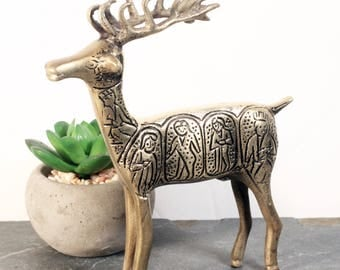 Brass Deer, Detailed Vintage Brass Figurine, Reindeer Statue