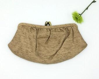 Vintage Raw Silk  Clutch Handbag, Vintage Purse, Neutral Color, Evening Bag