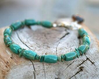 Turquoise, Smokey Topaz Gemstone Handmade Bracelet, Turquoise Bracelet, Aqua Blue Gemstone, Layering Bracelet, Minimalist Jewelry