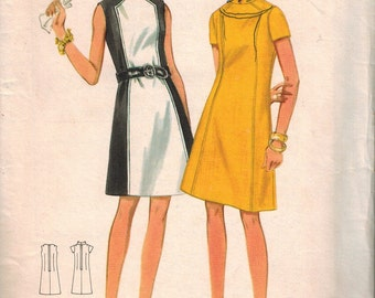 1960s Butterick 4795 Gorgeous Mod Dress Sewing Pattern Vintage Size 14