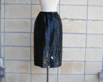 80s black sequin pencil skirt by Lillie Rubin. Inky black liquid sequin wiggle skirt-pencil skirt, 80s glam skirt, size S-M.