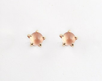 14k 5mm Sunstone Stone Warrior Studs | 14k Gold and Sunstone Earrings