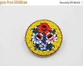 ON SALE Vintage Italy Micro Mosaic Brooch, Round, Gold, Yellow, Millefiori, Glass, Multicolor Flowers, Bouquet, Floral, Signed, Vivid! #b691