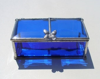 Cobalt Blue, Stained Glass Jewelry Box, with Butterfly or Your Choice of Handle