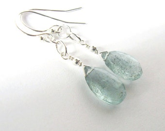 Moss Aquamarine Teardrop Earrings, Sterling Silver, March Birthstone, Soft Teal Gemstone