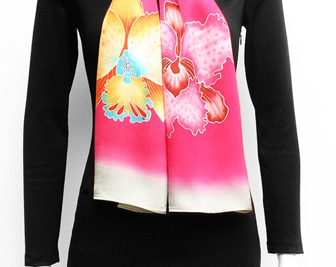 Silk scarf hand Painted, Pink silk scarf, colorful Orchids, Neck silk scarves, Flower scarf, Gift for her, Anniversary gift, Floral scarf