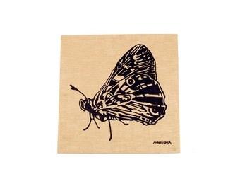 Vintage 70s Wall Hanging - Marushka Wall Hanging - 70s Wall Art - 70s Canvas - Butterfly - Moth - Marushka Butterfly - Blue Tan - 70s Art