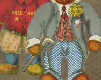 Instant Download Digital Printable Paper Doll Kit Antique Teddy Bear Set