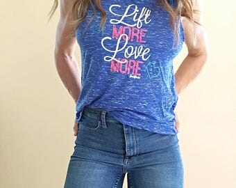Lift More Love More Fitness Motivation Muscle Tank in Blue Marble