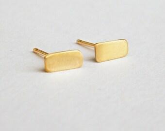 Rectangle earrings, solid 14k gold earrings, rectangle stud earrings, geometric gold stud earrings, single stud earring, small earring set