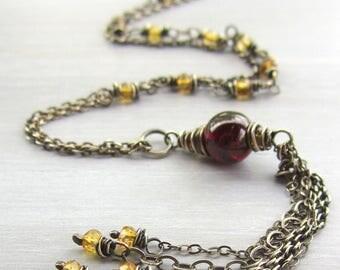 Long Tassel Necklace, Long Chain Tassel, Long Beaded Necklace With Tassel, Layered Necklace, Citrine Garnet Silver Necklace, Boho Jewelry