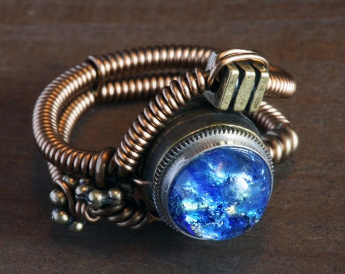 Steampunk Ring, Blue Harlequin Glass ,Antique Bronze ring band