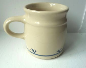 2 Avail - Friendship Pottery Mug - Blue Plant Flower Design - Pattern FPT3 - Blue Band - Country Farm Style - Roseville, OH - 1960s - 10 oz