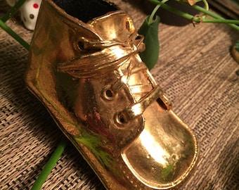 Vintage Bronzed Baby Shoe (Gold)