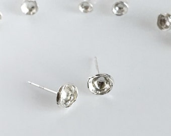 Simple Silver Stud Earrings, Organic Stud Earrings, Silver Asymmetric Organic Post Earrings, Small Unique Stud Earrings OOAK, Mothers Day