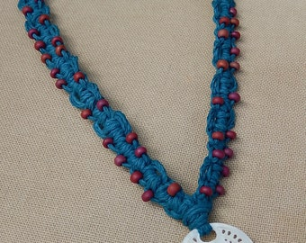 Abalone Focal with Glass Accents - Hemp Macrame Necklace - Natural Bohemian Hippie