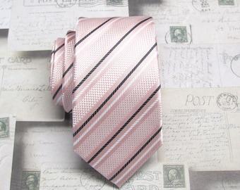 Mens Ties Skinny Tie. Pastel Pink Black Stripes Skinny Necktie