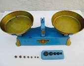 Toy Market Kitchen Scale Vintage Balance Scale many weights Made in France Truly  1960s Home decor Kitchen Market play
