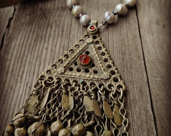 Kuchi Coral and Pearl Necklace