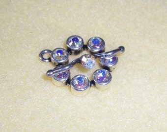 Silver Plated Toggle Clasp with Swarovski Crystal AB Aurora Borealis Crystals, iridescent swarovski crystals