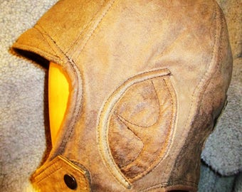Aviator/ Motoring Hat 1920s Style in Distressed Nubuck Leather