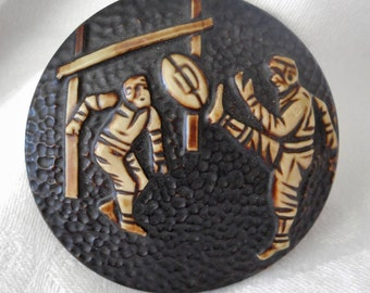 Large VINTAGE Buffed Celluloid Football as is No Shank BUTTON