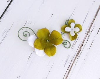 green and white hydrangea flower hair clip - twisted wire flower hair clip, olive green, faery hair