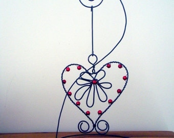 Wire Hanging Valentine Heart, Red Beads, Wire Art