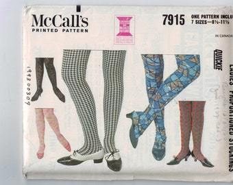 Vintage 1960s Craft Pattern McCalls 7915 Ladies Proportioned Stockings 8 1/2 - 11 1/2 1965 60s UNCUT
