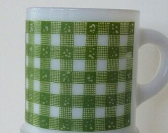Vintage Milk Glass Mug Green Gingham Plaid
