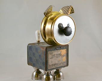 CAP the HANDY DOG, Assemblage Art Recycled Robot Sculpture