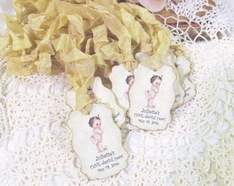 Onederful Favor Tags Vintage Style with ribbons - Set of 18 - Boy or Girl First 1st Birthday Tags - Baby Birthday