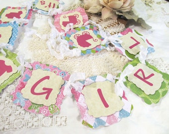 It's a Girl Baby Shower Banner Garland Bunting - Ready to Ship - Its a Girl Sprinkle - Pink Green - Baby Girl Shower Bright Colors