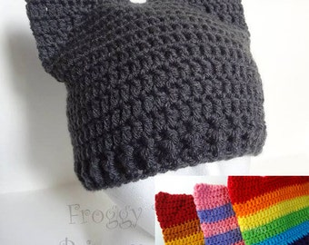 Cat Hat, Kitty Hat, Rainbow Animal Ears Beanie, Crocheted Gift for Kids Teens Adults