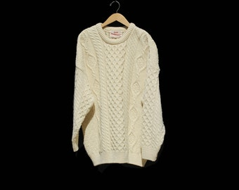 Vintage Cream Oversized Irish Cable knit Wool Sweater