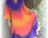 Sunrise Poppy Hooded Goddess dress with long Angel sleeves in soft rayon knit XXL