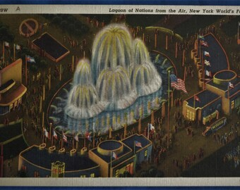 Postcard Lagoon of Nations Aerial Birds Eye View New York World's Fair 1939  Linen