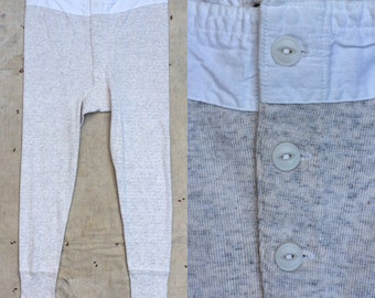 vintage ca. 1940s US Army issue heathered gray wool blend long underwear