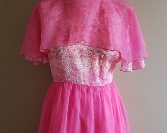 Pretty Pink Chiffon and Floral 1960s Bridesmaid Prom Dress