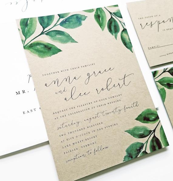 NEW Anna Watercolor Greenery Kraft Wedding Invitation Sample