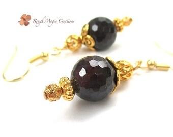 Gold & Garnet Gemstone Earrings, Dark Red Burgundy Stones, Renaissance Earrings, Semi Precious Gems, Elegant Jewelry, Gift for Women E473
