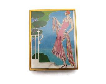 La Mode Art Deco Tin Candy Box - Vintage Fashion Flapper Lady Design Niggli Lackerli-Huus Switzerland Sliding